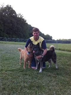 Bill and his dogs at Akron Dog Park